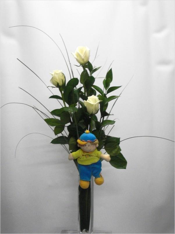 3 Rosas Blancas con Peluche