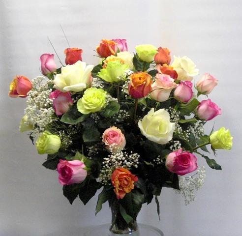 Jarrón de cristal 40 Rosas variadas de 40 cm.