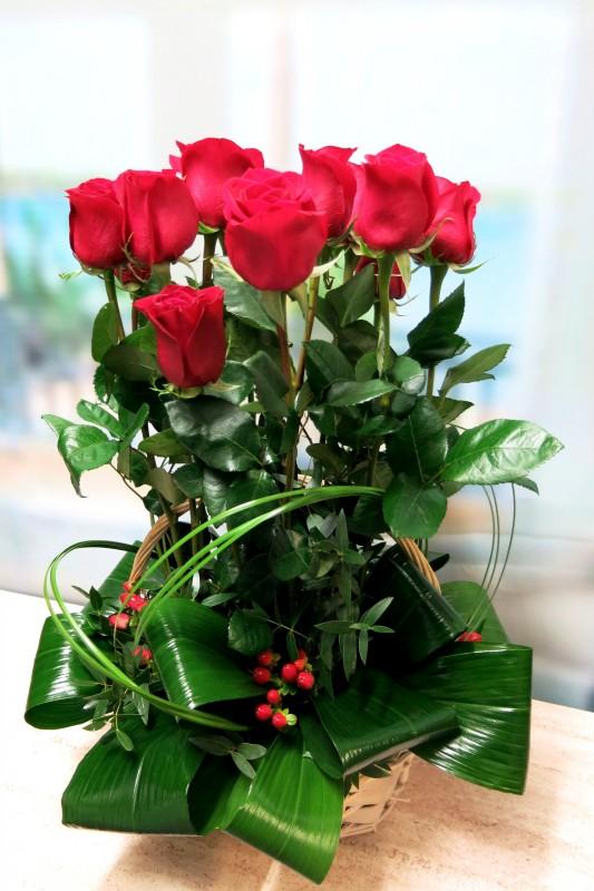 Rosas en Cesta