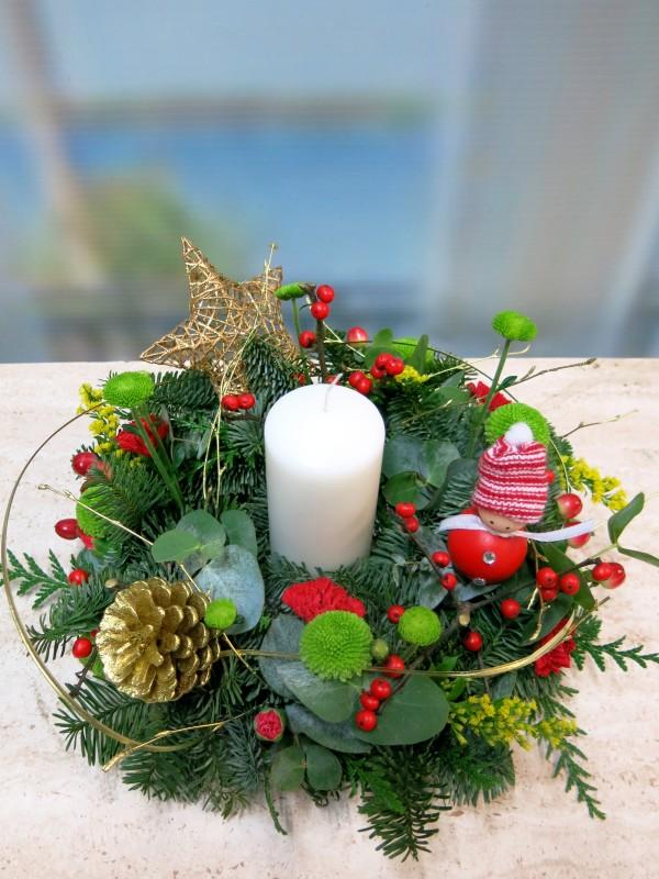 Centro de mesa navideño con Velón