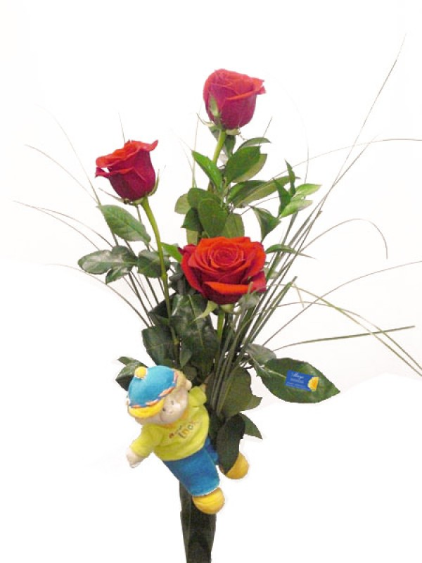 3 Rosas tallo largo con Peluche - Foto principal
