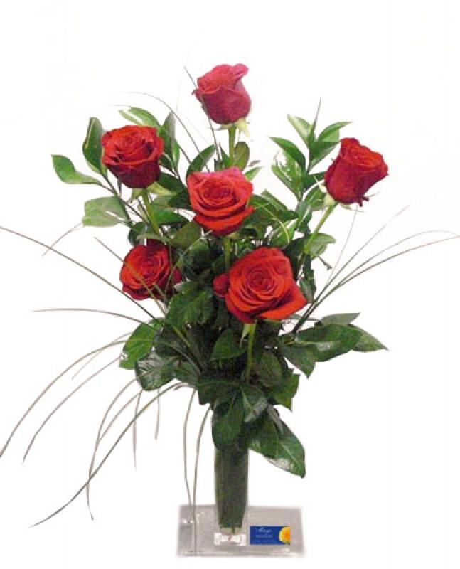 6 Rosas de tallo largo en ramo - Foto principal
