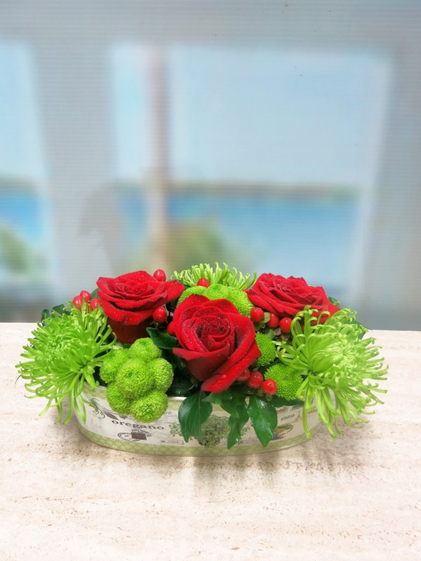 Jardinera con flores