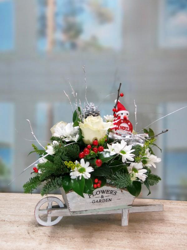 Carretilla de flores para Navidad