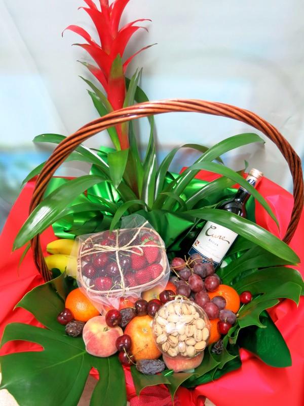 Cesta de frutas con Vino - Foto 2