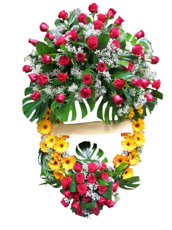 Corona de difuntos con Rosas rojas