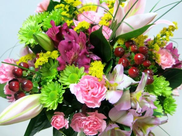 Ramo de Flor Variada. Tonos rosa y verde