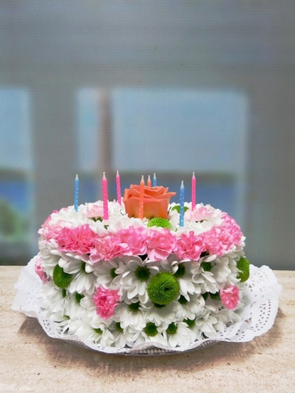 Tarta de Flores. Feliz Cumpleaños - Foto 2