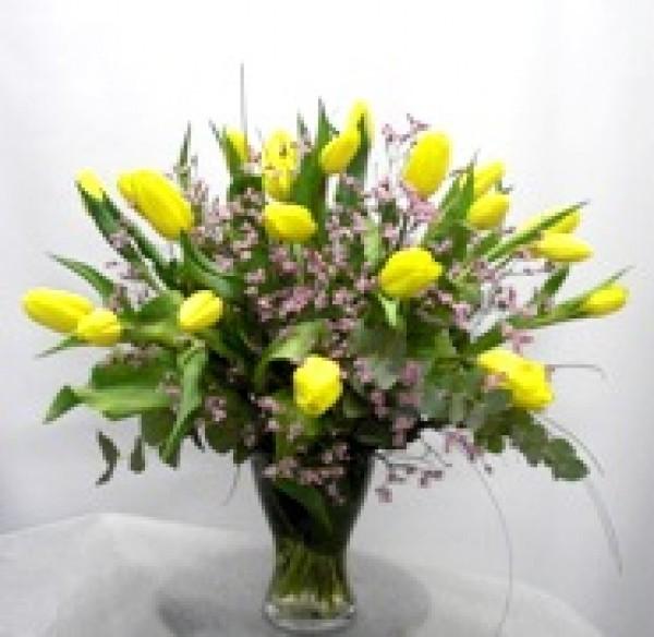 20 Tulipanes en Jarrón de cristal - Foto 3