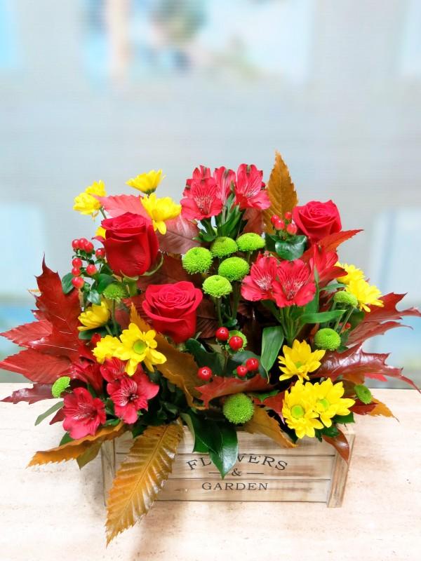 Centro de Flores en caja de madera - Foto 3