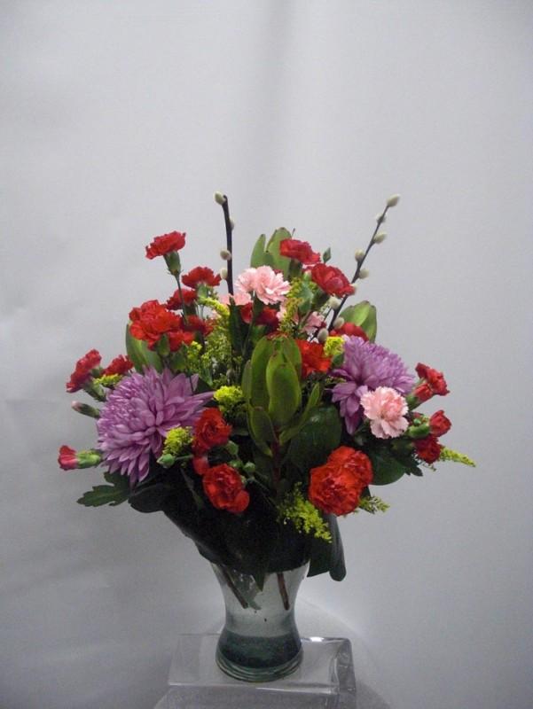Flor Variada en Rojo y Malva
