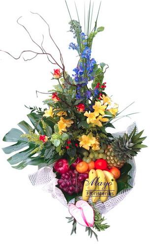 Cesta de frutas con flores - Foto principal