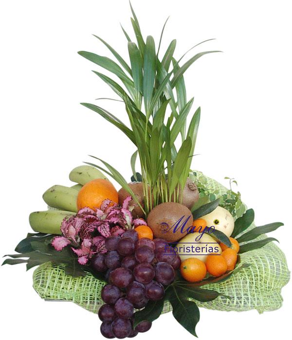 Cesta de frutas con planta - Foto principal
