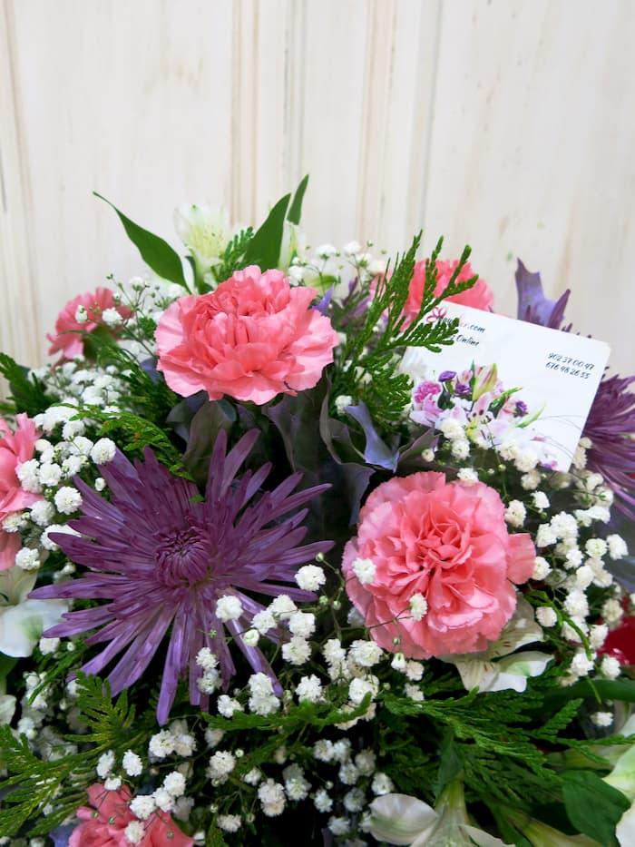 Centro funerario en rosa y malva - Foto 2