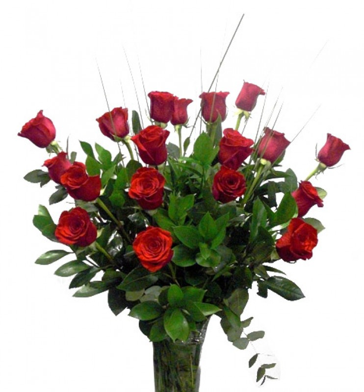 Bouquet of 18 Red Roses. Long Stem 70 cm. de color rojas