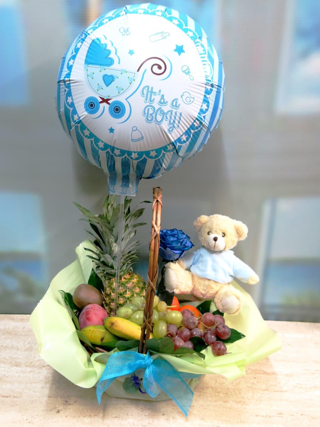 Fruta, peluche, globo y rosa para la nueva mamá - Foto 2