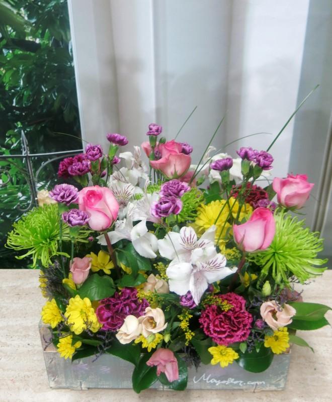 Caja de madera con flores - Foto 2