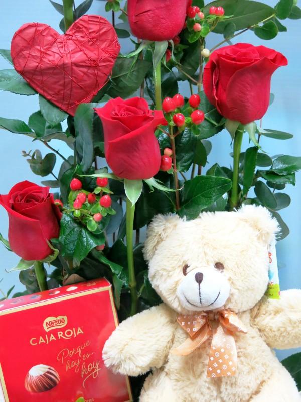 Rosas con Peluche y Bombones - Foto 2