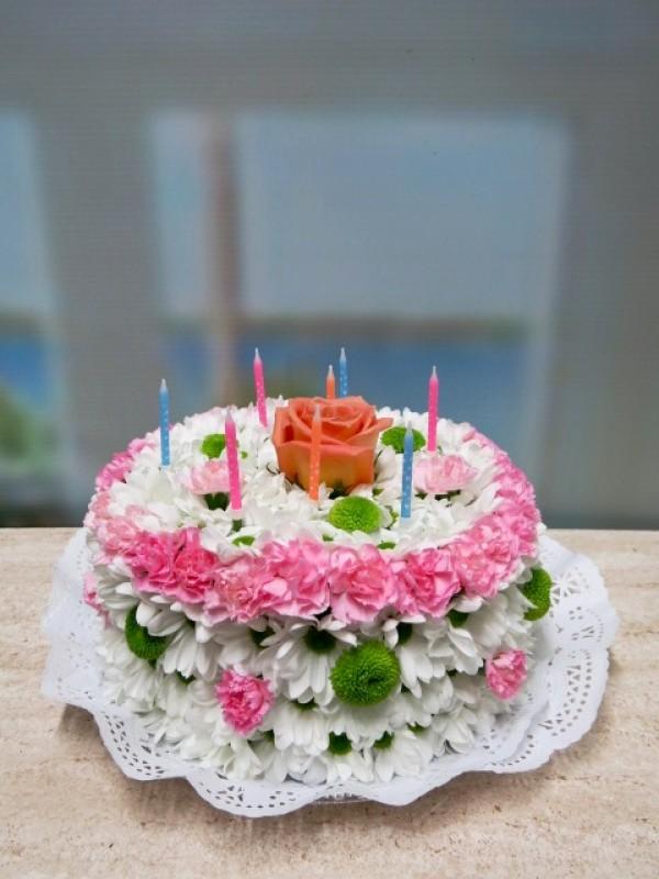 Tarta de Flores. Feliz Cumpleaños - Foto principal