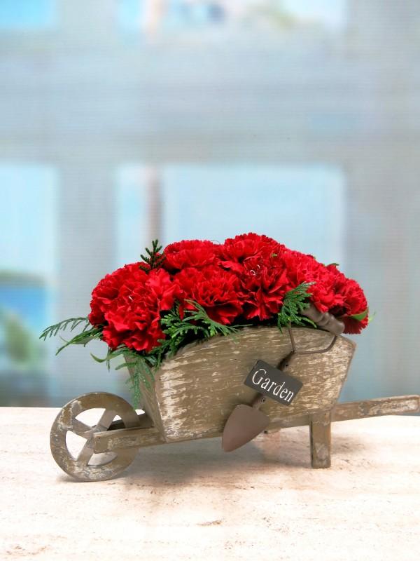 Carretilla de claveles centro de flores naturales - Foto 3