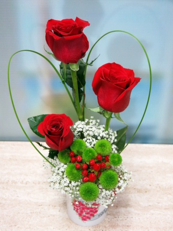 Cup with 3 roses - Foto 2