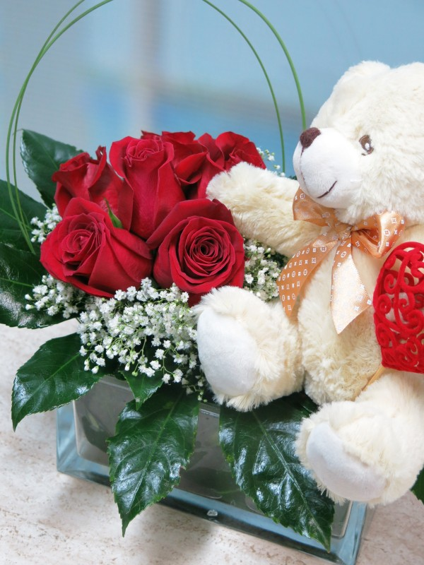 Roses and Teddy for Valentines in vase - Foto 3