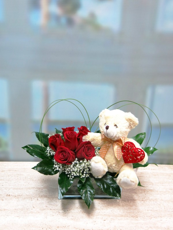 Roses and Teddy for Valentines in vase - Foto principal