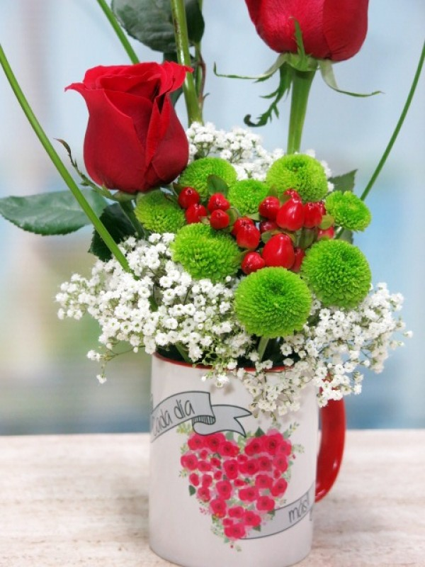 Cup with 3 roses - Foto 3