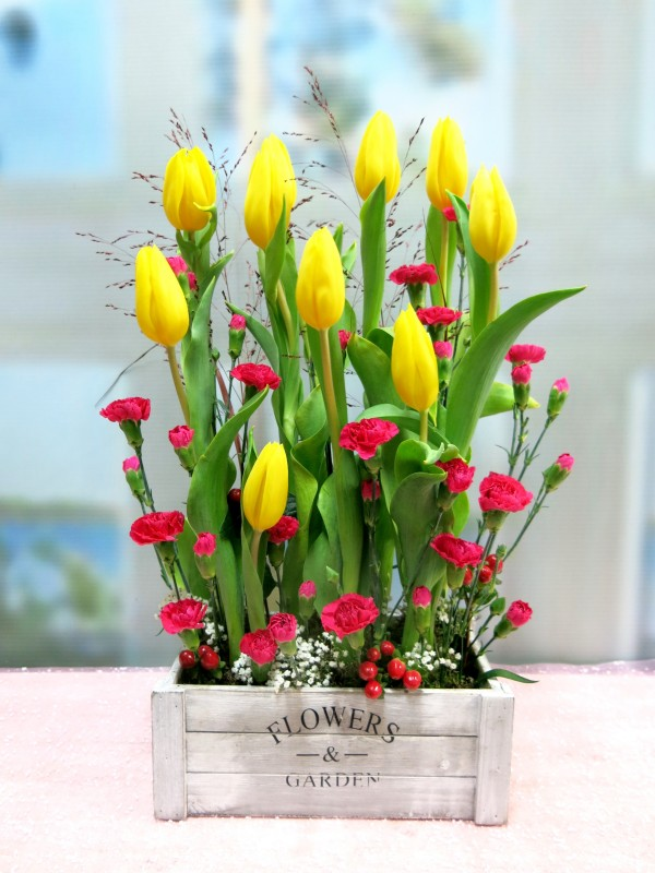 Tulips and mini carnation is a good combination. Send tulips in wooden box to your home - Foto principal